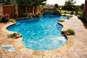 freeform pool with waterfall