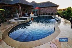 freeform pool with spa and fire pit