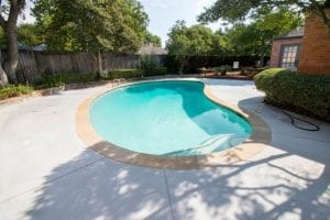 after renovation of a free form pool