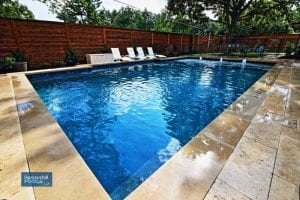 rectangle pool with water features