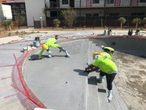 plastering a hotel pool