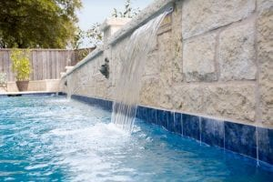 water feature with blue tile