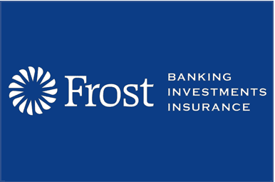 Frost Bank logo on a blue square
