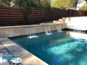 backyard pool with water feature