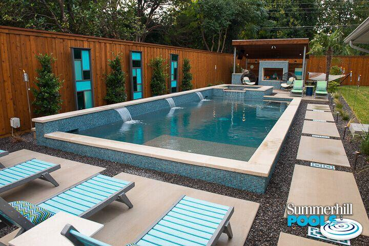 glass tile pool and spa