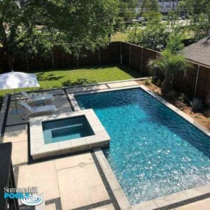 modern pool and spa with a concrete paver decking