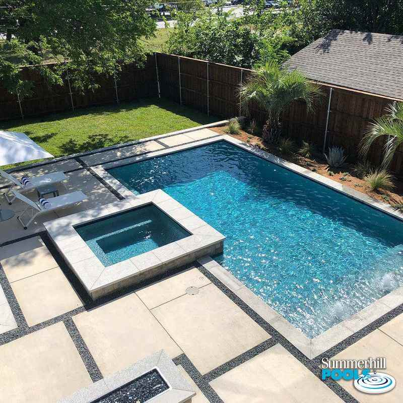 modern pool with concrete pavers