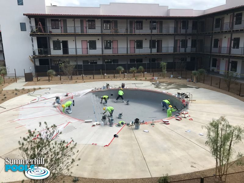 construction of a dallas texas hotel pool