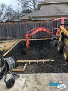 construction of a backyard pool