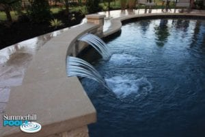 water wall going into pool