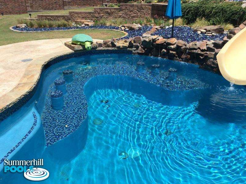 backyard pool with swim up bar