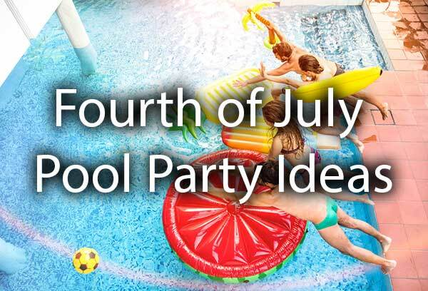 "A group of kids playing in the pool with the words, ""Fourth of July pool party ideas."""