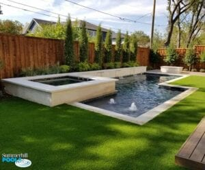 new modern pool with spa