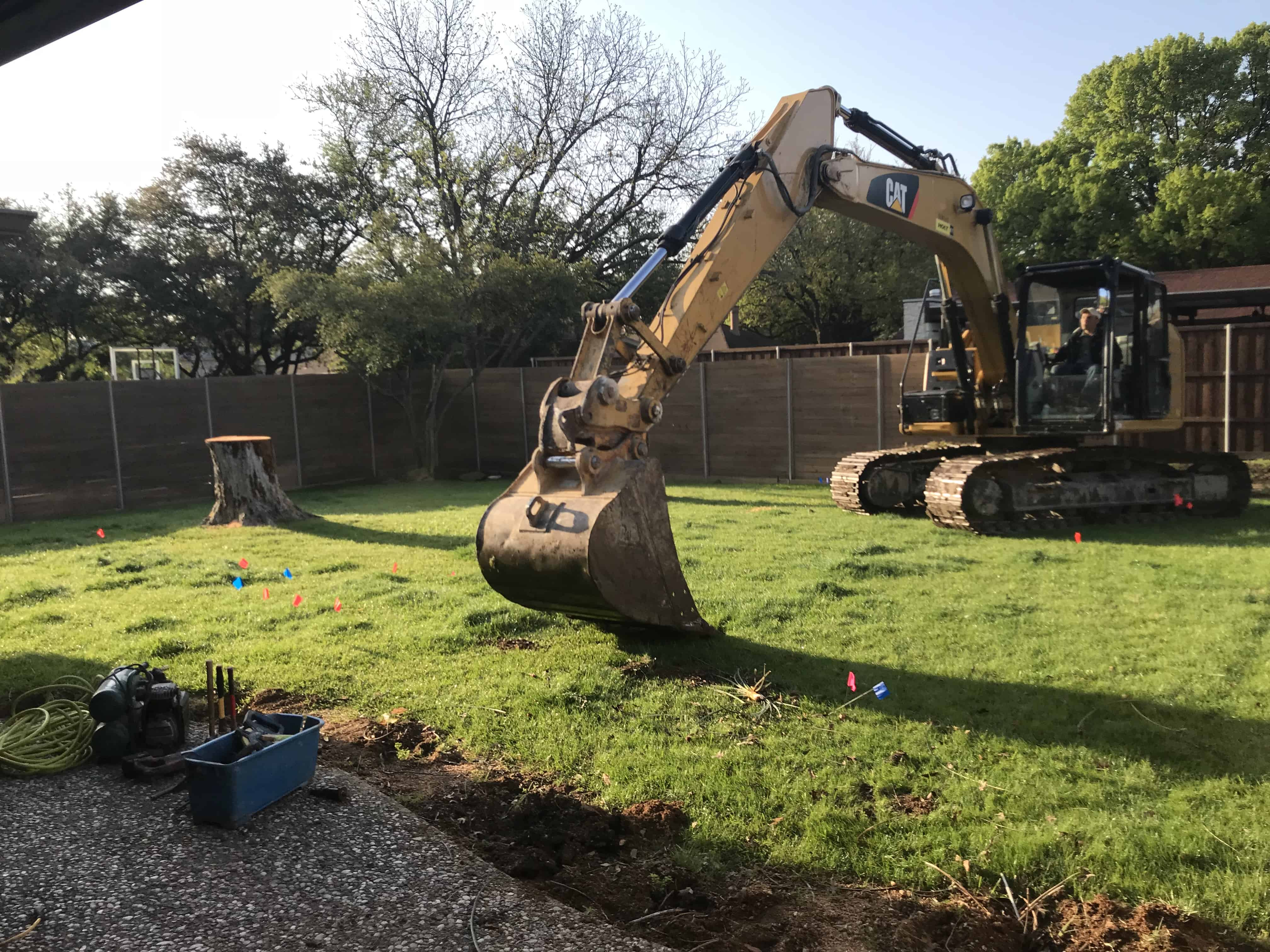 We are beginning the excavation phase of a new project in Dallas, TX. The Collins job is now underway and we are officially breaking ground on another beautiful swimming pool. First step in all new swimming pools is Excavation.